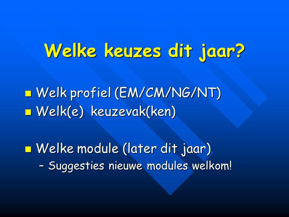 Welke keuzes dit jaar? Welk profiel (EM/CM/NG/NT) Welk profiel (EM/CM/NG/NT) Welk(e) keuzevak(ken) Welk(e) keuzevak(ken) Welke module (later dit jaar)