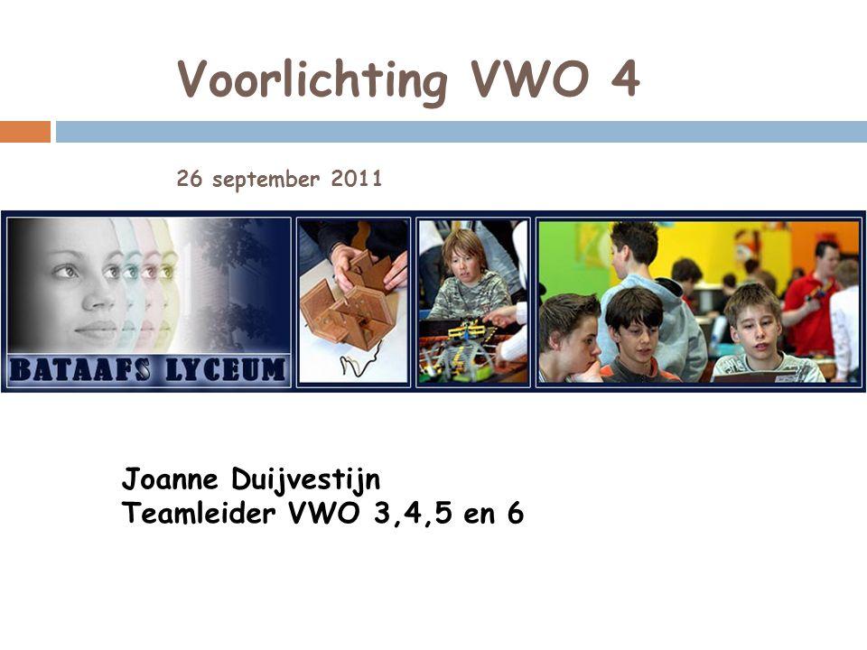 Voorlichting VWO 4 26 september 2011 Joanne Duijvestijn Teamleider VWO 3,4,5 en 6