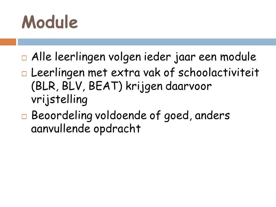 Module  Alle leerlingen volgen ieder jaar een module  Leerlingen met extra vak of schoolactiviteit (BLR, BLV, BEAT) krijgen daarvoor vrijstelling  Beoordeling voldoende of goed, anders aanvullende opdracht