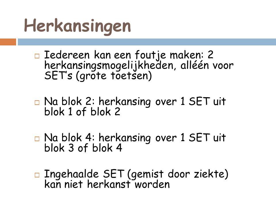 Herkansingen  Iedereen kan een foutje maken: 2 herkansingsmogelijkheden, alléén voor SET's (grote toetsen)  Na blok 2: herkansing over 1 SET uit blok 1 of blok 2  Na blok 4: herkansing over 1 SET uit blok 3 of blok 4  Ingehaalde SET (gemist door ziekte) kan niet herkanst worden