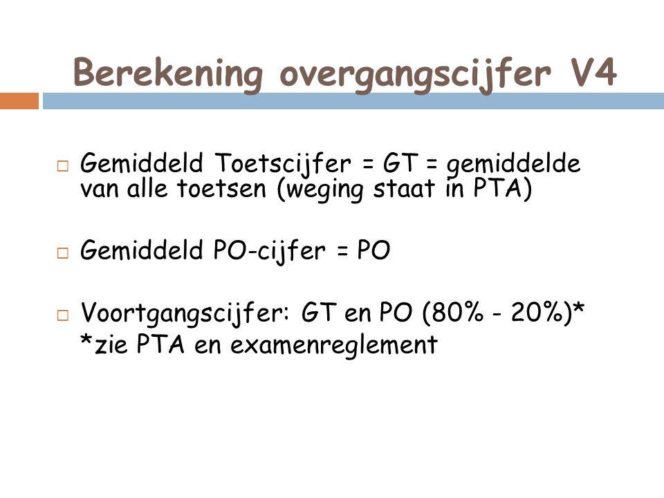 Berekening overgangscijfer V4  Gemiddeld Toetscijfer = GT = gemiddelde van alle toetsen (weging staat in PTA)  Gemiddeld PO-cijfer = PO  Voortgangscijfer: GT en PO (80% - 20%)* *zie PTA en examenreglement