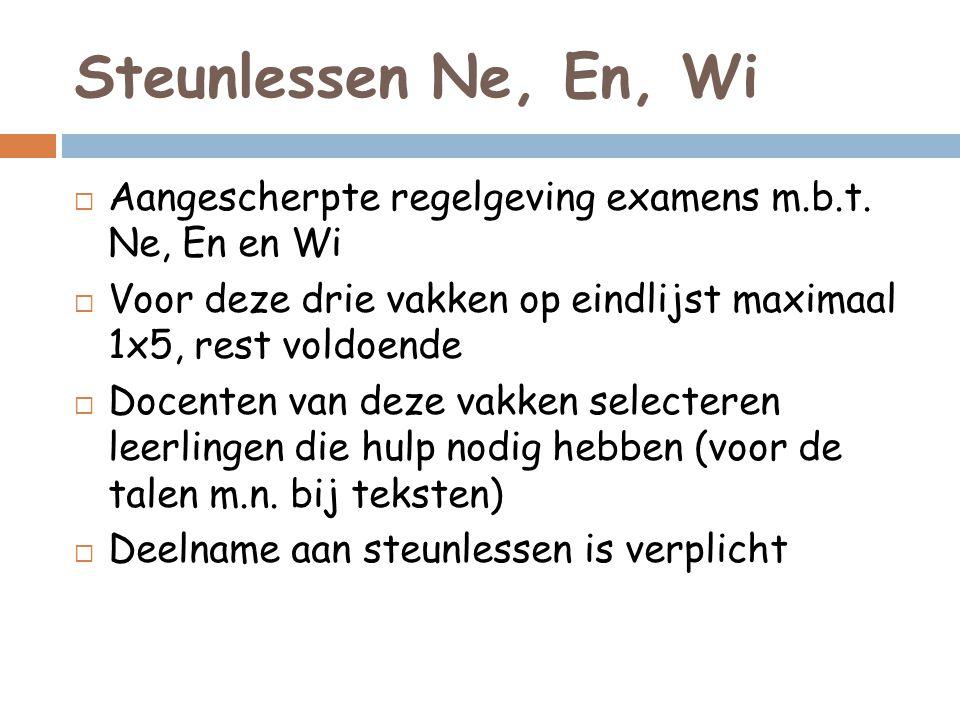 Steunlessen Ne, En, Wi  Aangescherpte regelgeving examens m.b.t.