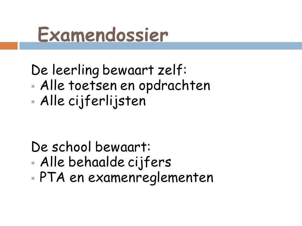 Examendossier De leerling bewaart zelf:  Alle toetsen en opdrachten  Alle cijferlijsten De school bewaart:  Alle behaalde cijfers  PTA en examenreglementen