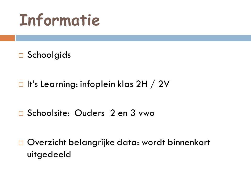 Informatie  Schoolgids  It's Learning: infoplein klas 2H / 2V  Schoolsite: Ouders 2 en 3 vwo  Overzicht belangrijke data: wordt binnenkort uitgedeeld