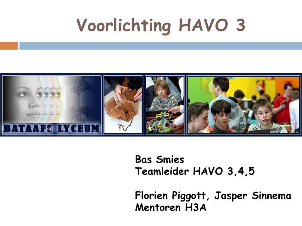 Voorlichting HAVO 3 Bas Smies Teamleider HAVO 3,4,5 Florien Piggott, Jasper Sinnema Mentoren H3A