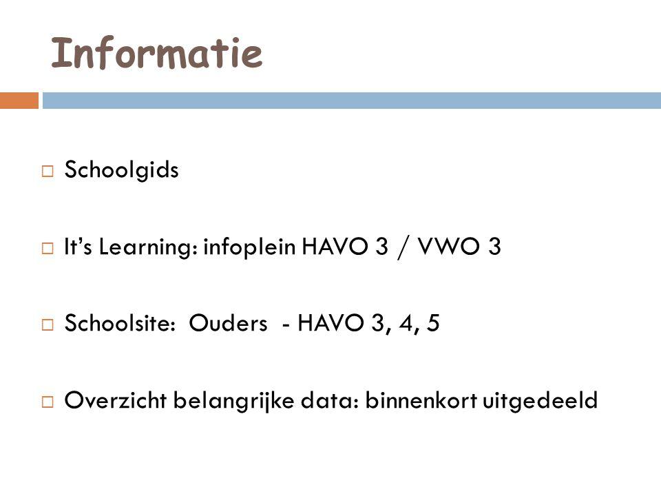Informatie  Schoolgids  It's Learning: infoplein HAVO 3 / VWO 3  Schoolsite: Ouders - HAVO 3, 4, 5  Overzicht belangrijke data: binnenkort uitgedeeld