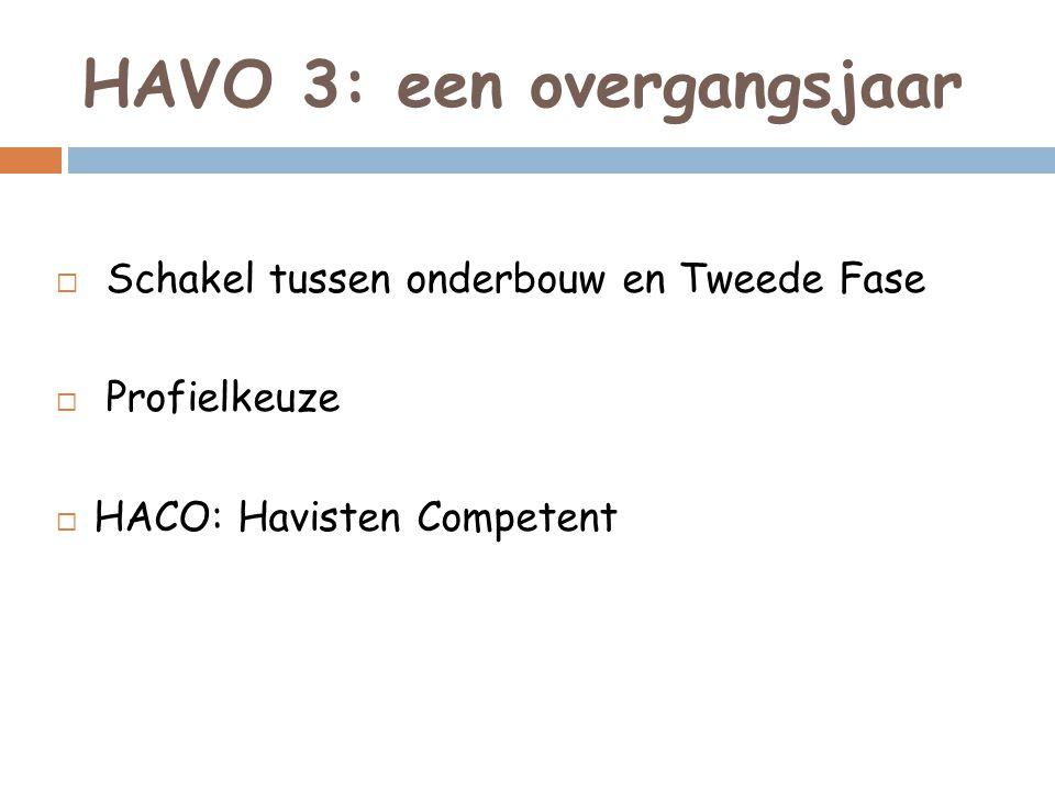HAVO 3: een overgangsjaar  Schakel tussen onderbouw en Tweede Fase  Profielkeuze  HACO: Havisten Competent