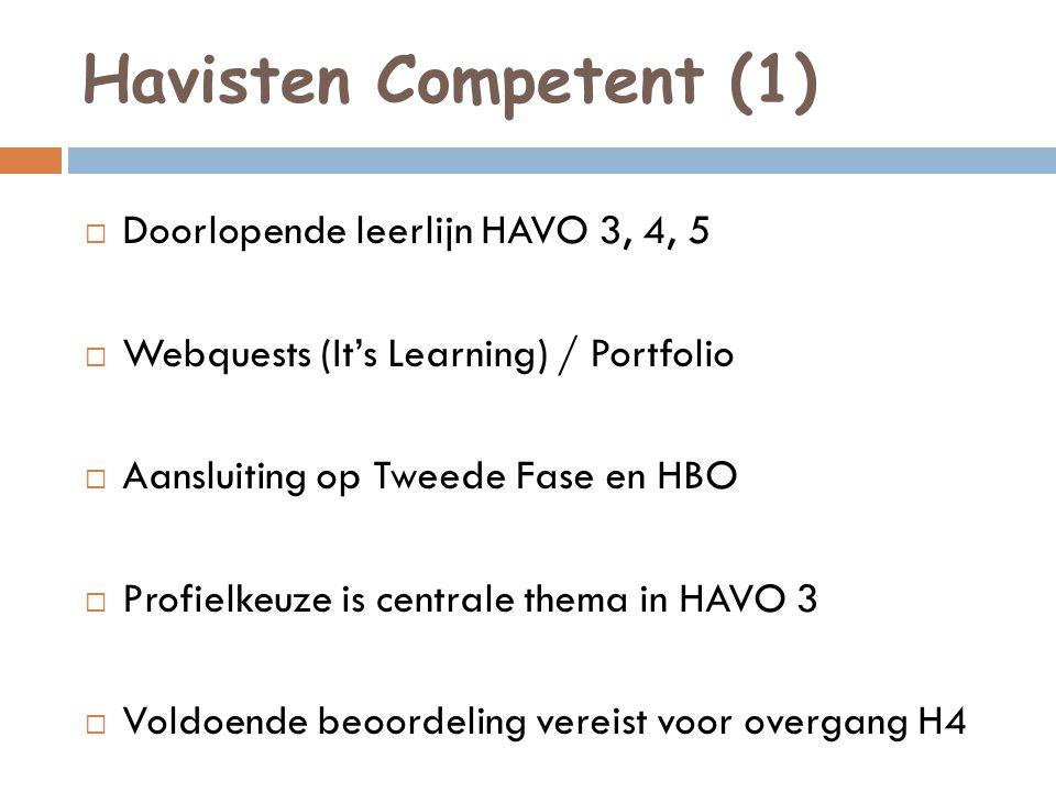 Havisten Competent (1)  Doorlopende leerlijn HAVO 3, 4, 5  Webquests (It's Learning) / Portfolio  Aansluiting op Tweede Fase en HBO  Profielkeuze is centrale thema in HAVO 3  Voldoende beoordeling vereist voor overgang H4