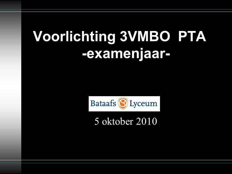 Voorlichting 3VMBO PTA -examenjaar- 5 oktober 2010