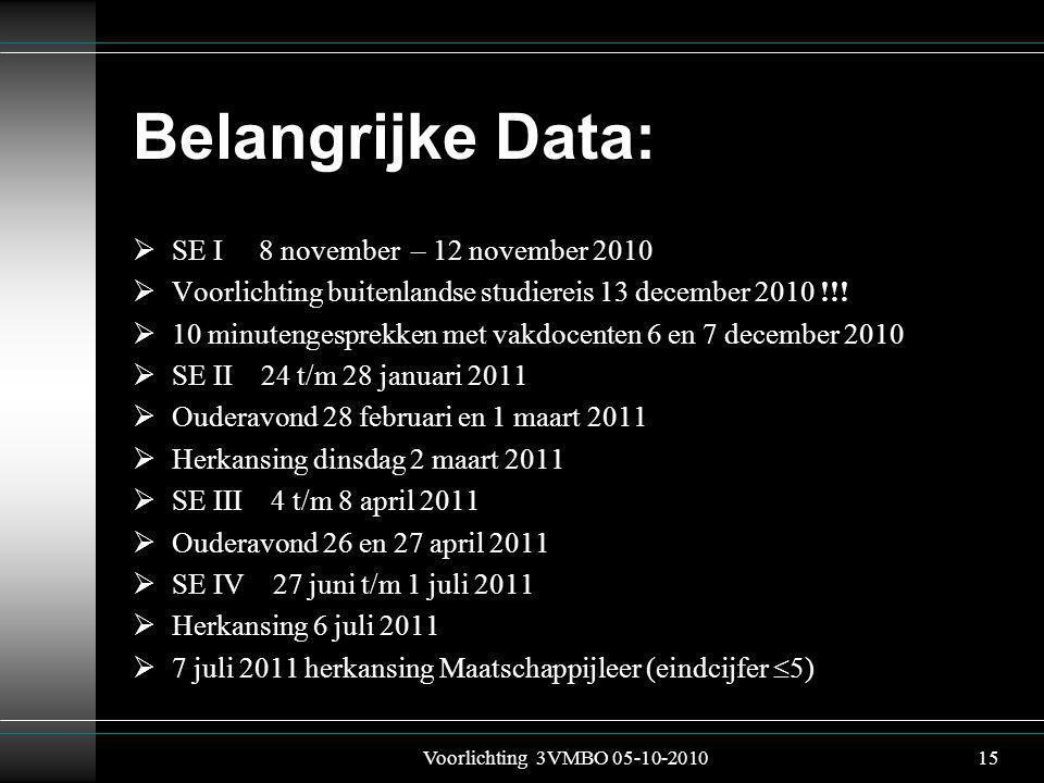Belangrijke Data:  SE I 8 november – 12 november 2010  Voorlichting buitenlandse studiereis 13 december 2010 !!.