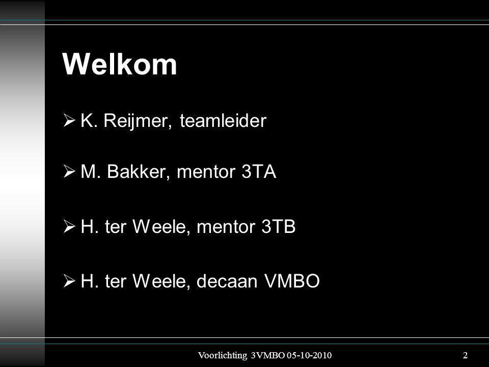Welkom  K. Reijmer, teamleider  M. Bakker, mentor 3TA  H.