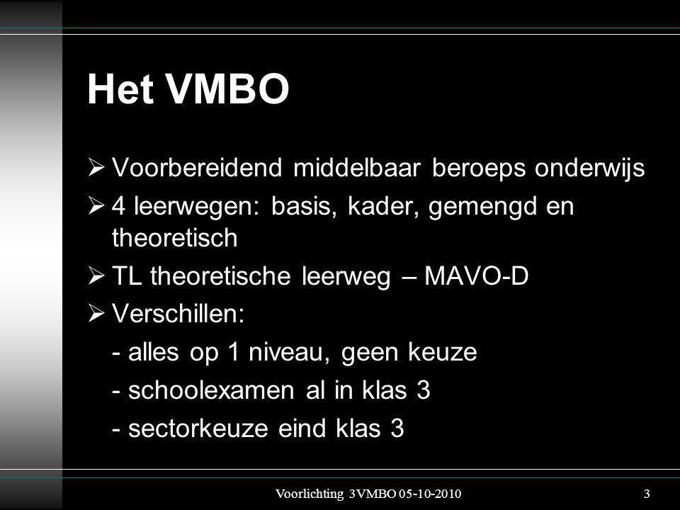 Het VMBO  Voorbereidend middelbaar beroeps onderwijs  4 leerwegen: basis, kader, gemengd en theoretisch  TL theoretische leerweg – MAVO-D  Verschillen: - alles op 1 niveau, geen keuze - schoolexamen al in klas 3 - sectorkeuze eind klas 3 Voorlichting 3VMBO 05-10-20103