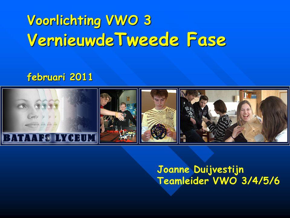 Voorlichting VWO 3 Vernieuwde Tweede Fase februari 2011 Joanne Duijvestijn Teamleider VWO 3/4/5/6