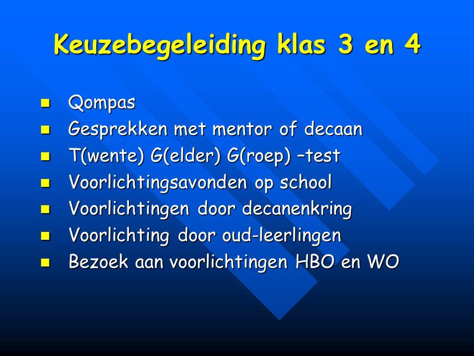 Keuzebegeleiding klas 3 en 4 Qompas Qompas Gesprekken met mentor of decaan Gesprekken met mentor of decaan T(wente) G(elder) G(roep) –test T(wente) G(