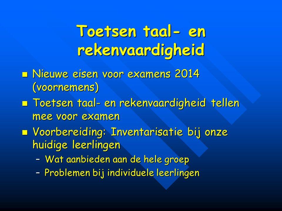 Toetsen taal- en rekenvaardigheid Nieuwe eisen voor examens 2014 (voornemens) Nieuwe eisen voor examens 2014 (voornemens) Toetsen taal- en rekenvaardi