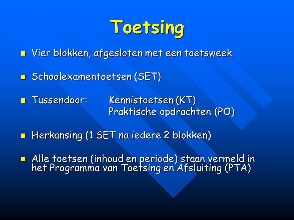 Toetsing Vier blokken, afgesloten met een toetsweek Vier blokken, afgesloten met een toetsweek Schoolexamentoetsen (SET) Schoolexamentoetsen (SET) Tussendoor: Kennistoetsen (KT) Tussendoor: Kennistoetsen (KT) Praktische opdrachten (PO) Herkansing (1 SET na iedere 2 blokken) Herkansing (1 SET na iedere 2 blokken) Alle toetsen (inhoud en periode) staan vermeld in het Programma van Toetsing en Afsluiting (PTA) Alle toetsen (inhoud en periode) staan vermeld in het Programma van Toetsing en Afsluiting (PTA)