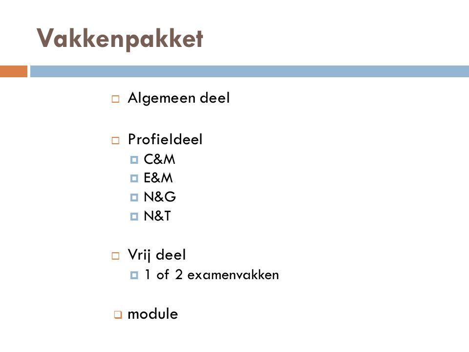 Vakkenpakket  Algemeen deel  Profieldeel  C&M  E&M  N&G  N&T  Vrij deel  1 of 2 examenvakken  module