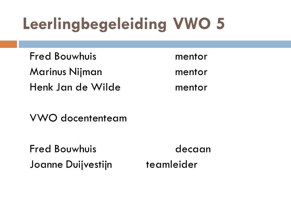 Leerlingbegeleiding VWO 5 Fred Bouwhuismentor Marinus Nijmanmentor Henk Jan de Wildementor VWO docententeam Fred Bouwhuisdecaan Joanne Duijvestijnteamleider