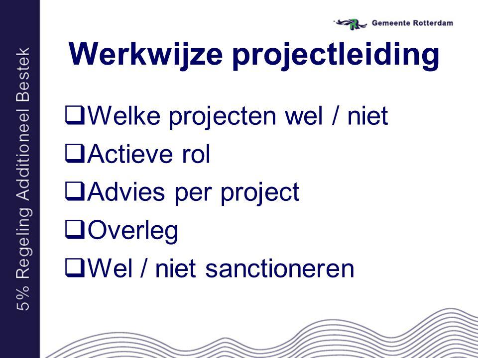 Werkwijze projectleiding  Welke projecten wel / niet  Actieve rol  Advies per project  Overleg  Wel / niet sanctioneren