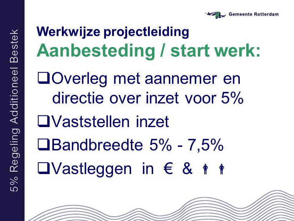 Werkwijze projectleiding Aanbesteding / start werk:  Overleg met aannemer en directie over inzet voor 5%  Vaststellen inzet  Bandbreedte 5% - 7,5%