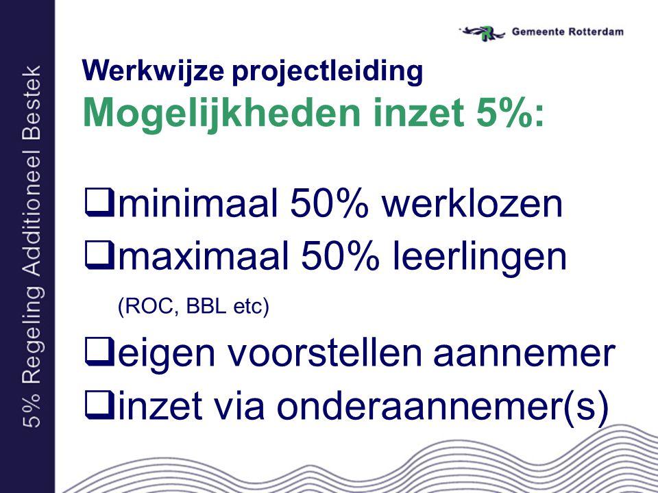 Werkwijze projectleiding Mogelijkheden inzet 5%:  minimaal 50% werklozen  maximaal 50% leerlingen (ROC, BBL etc)  eigen voorstellen aannemer  inze