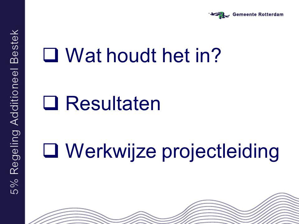  Wat houdt het in?  Resultaten  Werkwijze projectleiding
