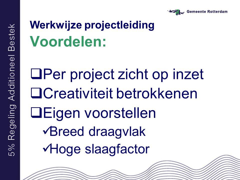 Werkwijze projectleiding Voordelen:  Per project zicht op inzet  Creativiteit betrokkenen  Eigen voorstellen Breed draagvlak Hoge slaagfactor