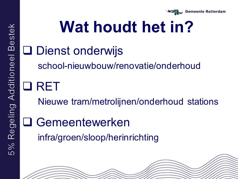 Wat houdt het in?  Dienst onderwijs school-nieuwbouw/renovatie/onderhoud  RET Nieuwe tram/metrolijnen/onderhoud stations  Gemeentewerken infra/groe