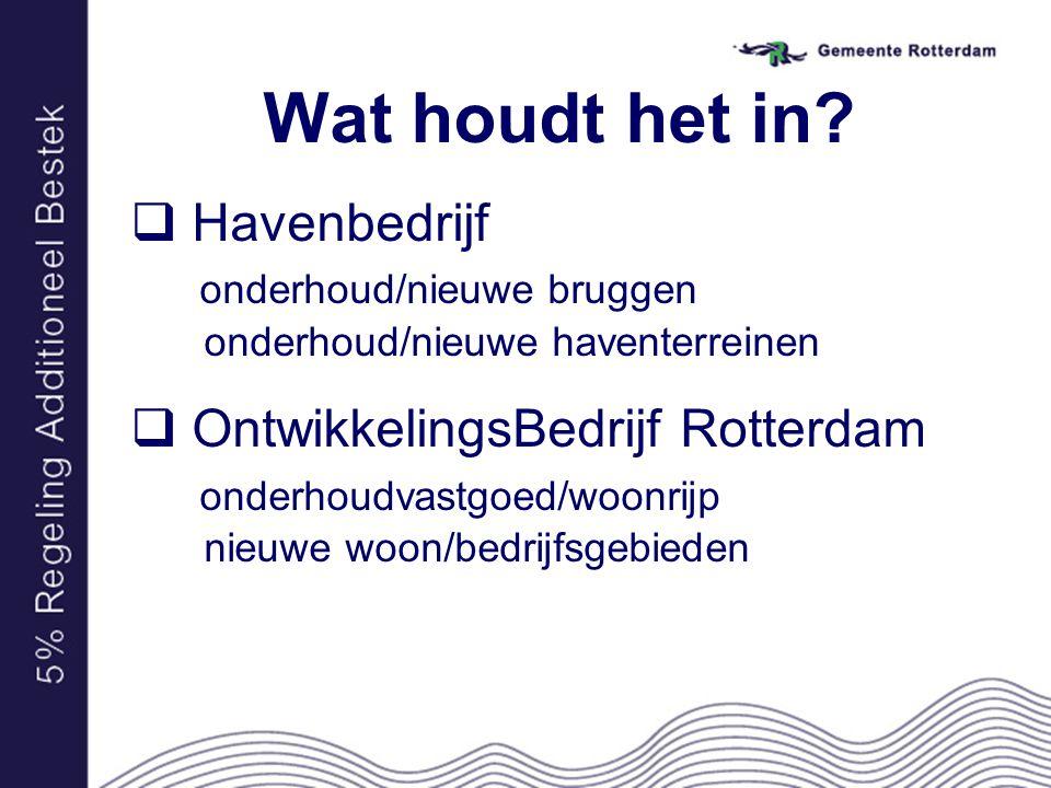 Wat houdt het in?  Havenbedrijf onderhoud/nieuwe bruggen onderhoud/nieuwe haventerreinen  OntwikkelingsBedrijf Rotterdam onderhoudvastgoed/woonrijp