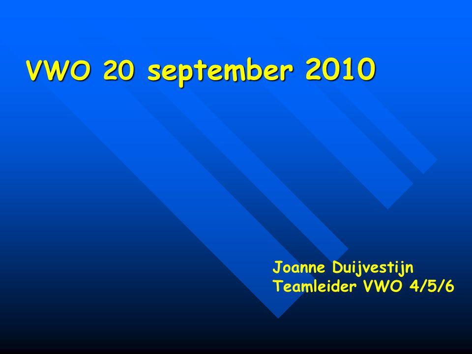 VWO 20 september 2010 VWO 20 september 2010 Joanne Duijvestijn Teamleider VWO 4/5/6