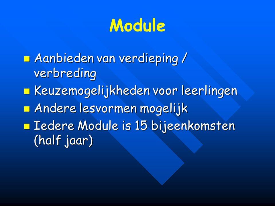 Module Aanbieden van verdieping / verbreding Aanbieden van verdieping / verbreding Keuzemogelijkheden voor leerlingen Keuzemogelijkheden voor leerling
