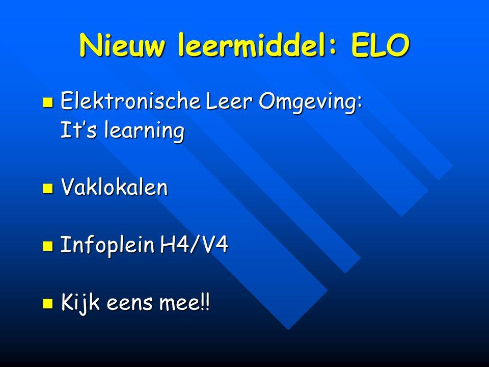 Nieuw leermiddel: ELO Elektronische Leer Omgeving: Elektronische Leer Omgeving: It's learning Vaklokalen Vaklokalen Infoplein H4/V4 Infoplein H4/V4 Ki