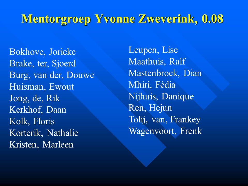 Mentorgroep Yvonne Zweverink, 0.08 Mentorgroep Yvonne Zweverink, 0.08 Bokhove, Jorieke Brake, ter, Sjoerd Burg, van der, Douwe Huisman, Ewout Jong, de