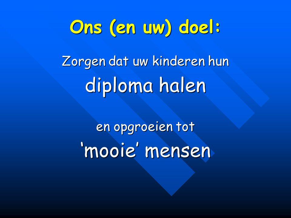 Ons (en uw) doel: Zorgen dat uw kinderen hun diploma halen en opgroeien tot 'mooie' mensen