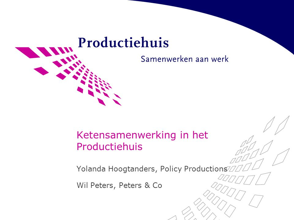 Opzet workshop Introductie Productiehuis Productiehuis en werkzoekenden Productiehuis en werkgevers Praktijkervaringen delen Discussie over toekomstige ontwikkeling