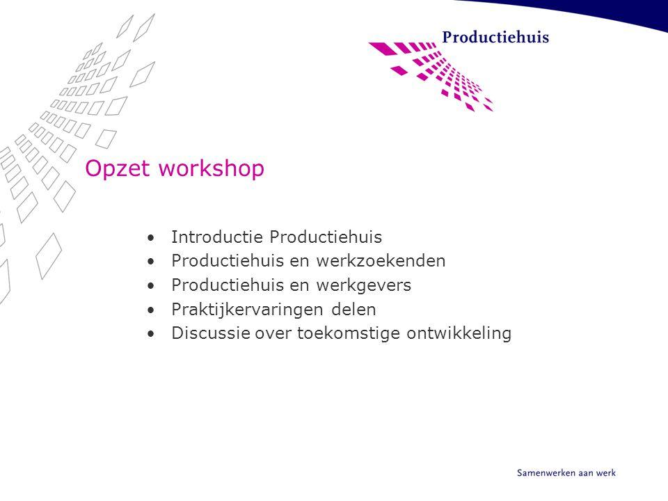 Opzet workshop Introductie Productiehuis Productiehuis en werkzoekenden Productiehuis en werkgevers Praktijkervaringen delen Discussie over toekomstig