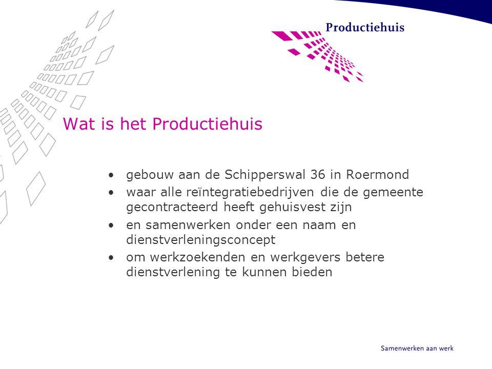 Wat is het Productiehuis gebouw aan de Schipperswal 36 in Roermond waar alle reïntegratiebedrijven die de gemeente gecontracteerd heeft gehuisvest zij
