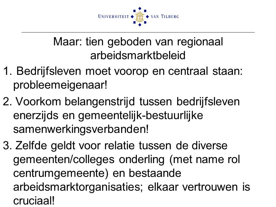 Maar: tien geboden van regionaal arbeidsmarktbeleid 1. Bedrijfsleven moet voorop en centraal staan: probleemeigenaar! 2. Voorkom belangenstrijd tussen