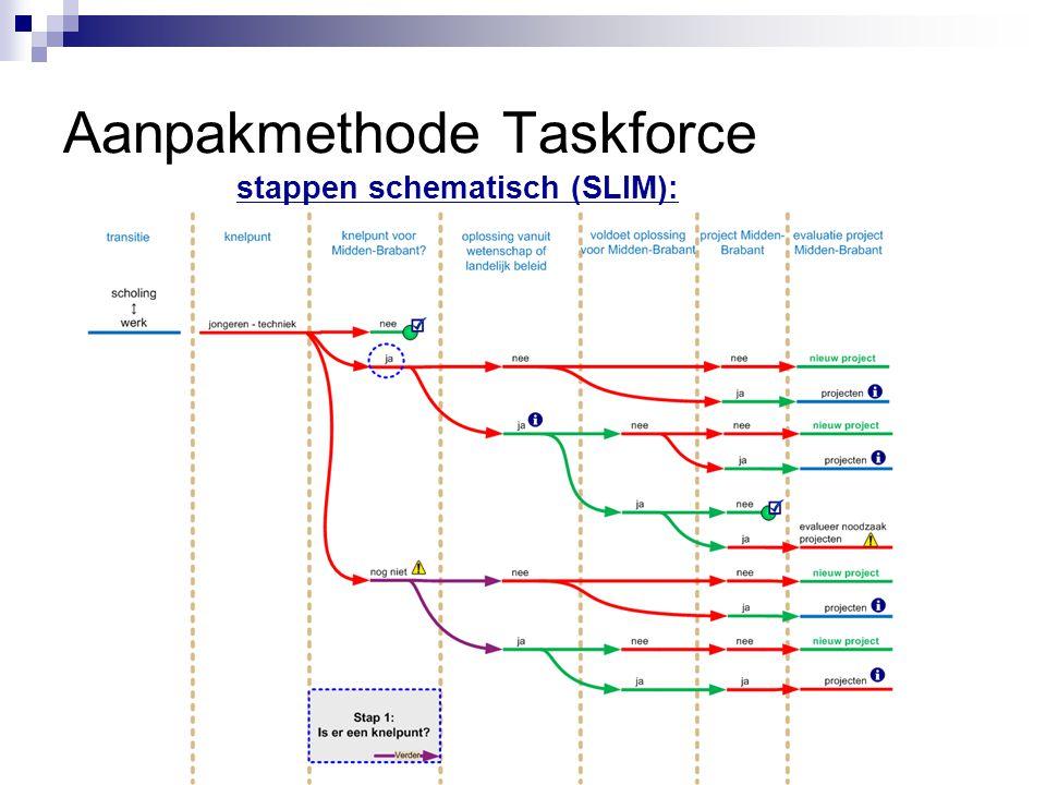 Aanpakmethode Taskforce stappen schematisch (SLIM):
