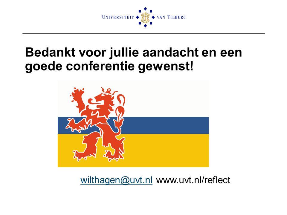 Bedankt voor jullie aandacht en een goede conferentie gewenst! wilthagen@uvt.nlwilthagen@uvt.nl www.uvt.nl/reflect