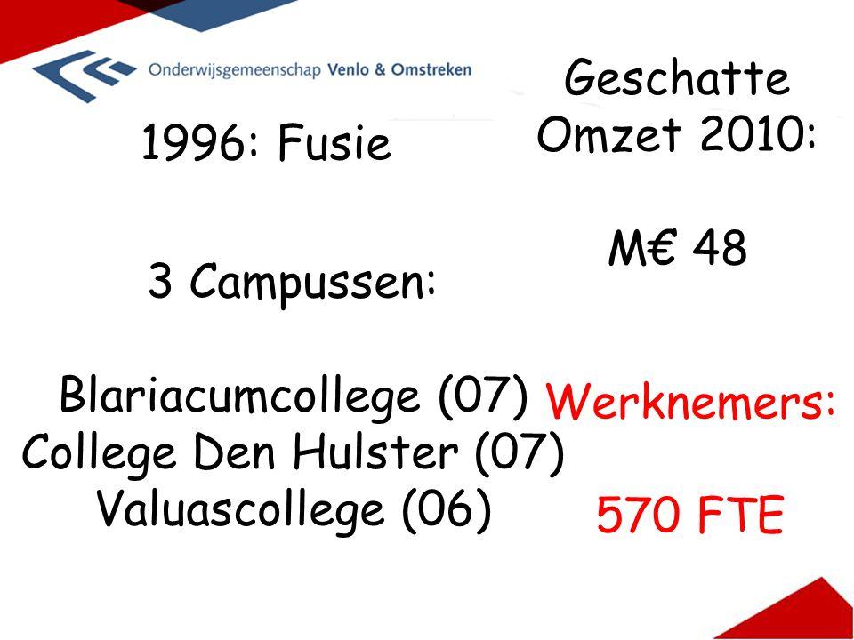 1996: Fusie 3 Campussen: Blariacumcollege (07) College Den Hulster (07) Valuascollege (06) Geschatte Omzet 2010: M€ 48 Werknemers: 570 FTE