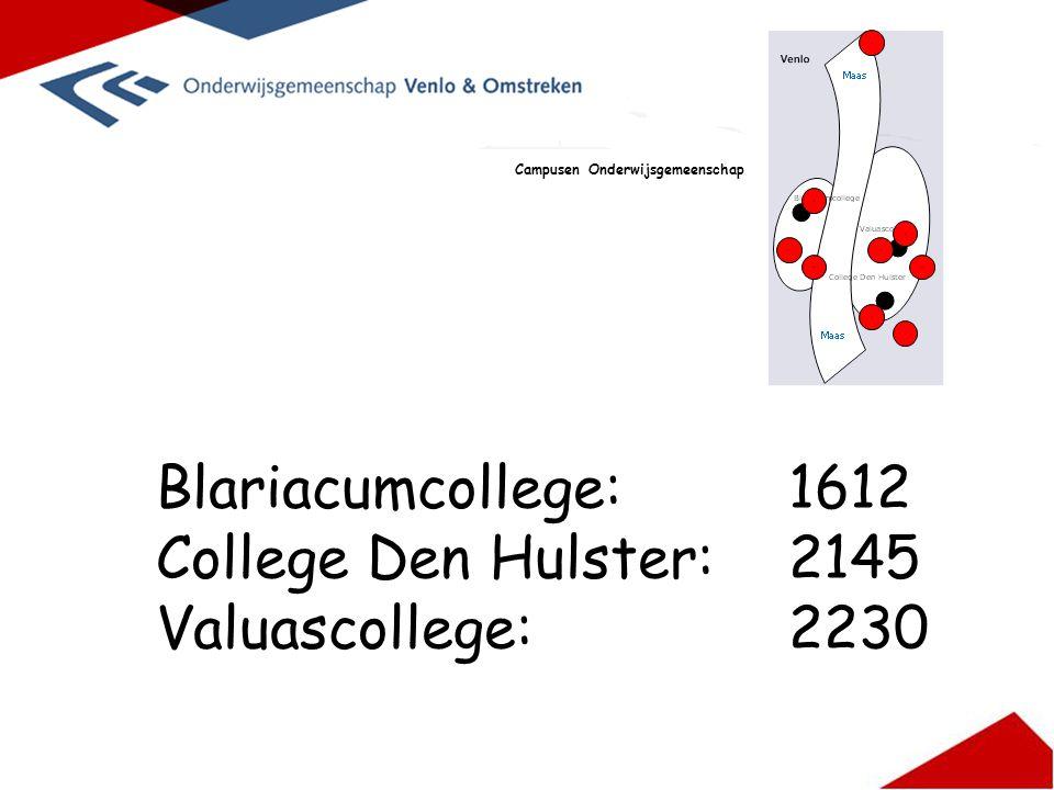 Blariacumcollege: 1612 College Den Hulster:2145 Valuascollege:2230 Campusen Onderwijsgemeenschap