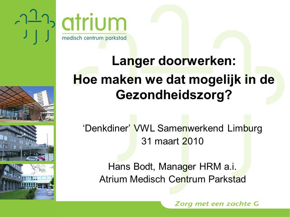 'Denkdiner' VWL Samenwerkend Limburg 31 maart 2010 Hans Bodt, Manager HRM a.i.