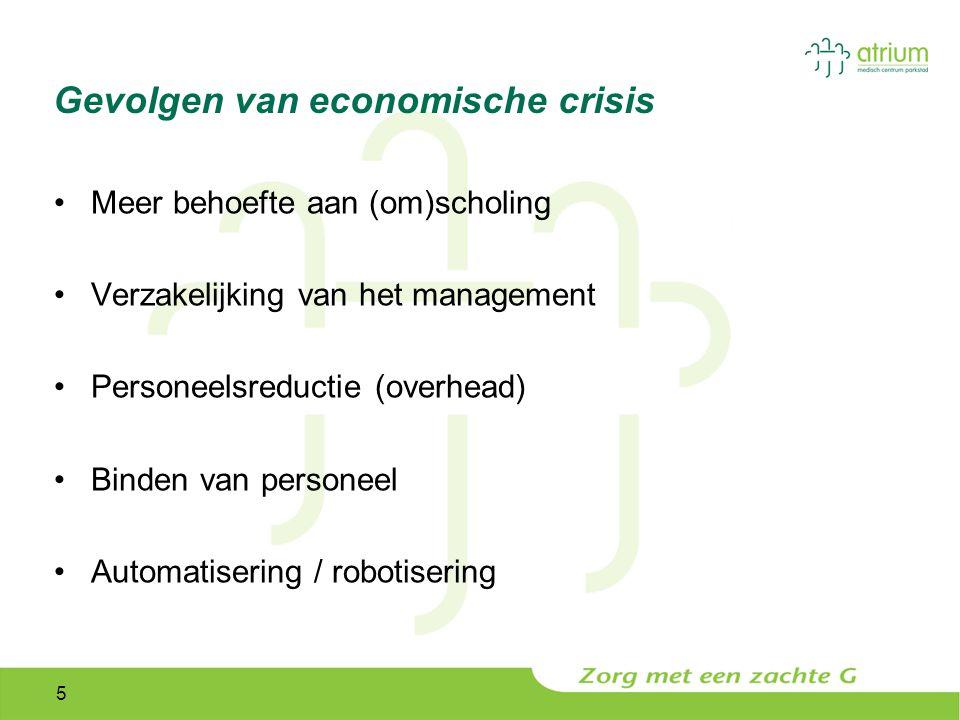 5 Gevolgen van economische crisis Meer behoefte aan (om)scholing Verzakelijking van het management Personeelsreductie (overhead) Binden van personeel Automatisering / robotisering