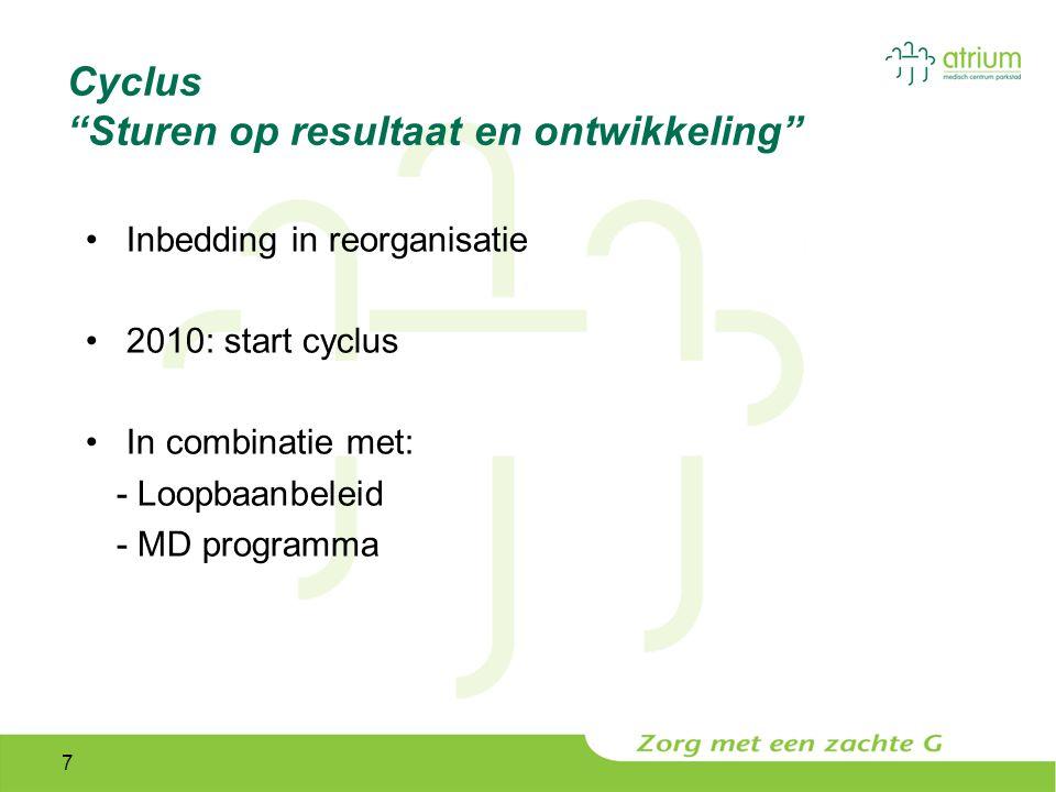7 Cyclus Sturen op resultaat en ontwikkeling Inbedding in reorganisatie 2010: start cyclus In combinatie met: - Loopbaanbeleid - MD programma