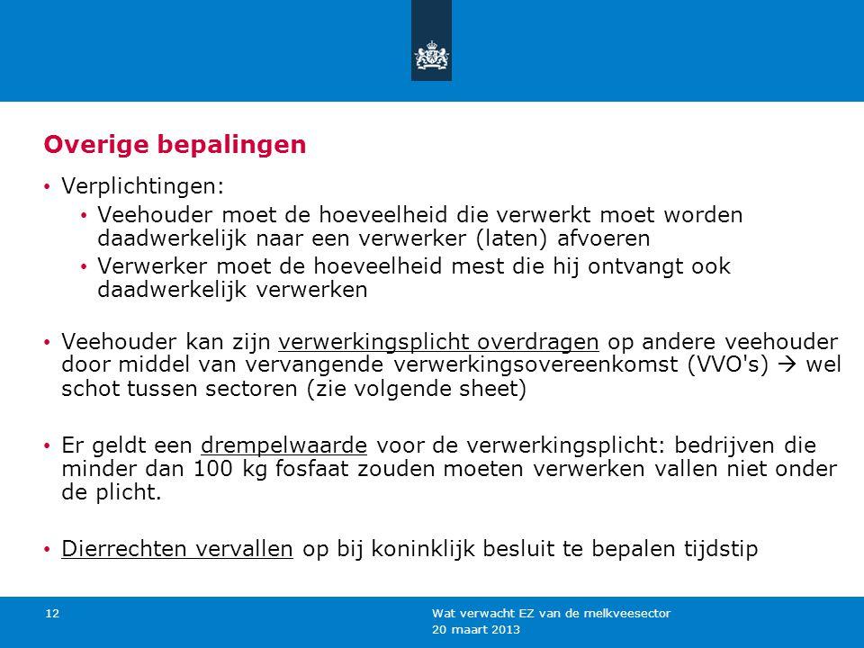 20 maart 2013 Wat verwacht EZ van de melkveesector 12 Overige bepalingen Verplichtingen: Veehouder moet de hoeveelheid die verwerkt moet worden daadwe
