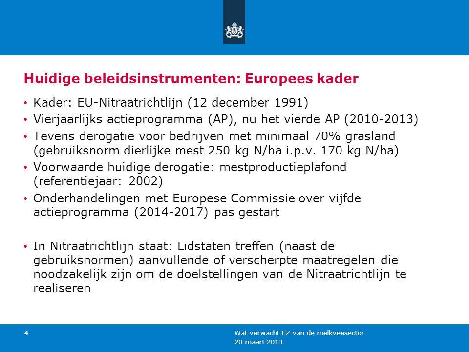 20 maart 2013 Wat verwacht EZ van de melkveesector 4 Huidige beleidsinstrumenten: Europees kader Kader: EU-Nitraatrichtlijn (12 december 1991) Vierjaa