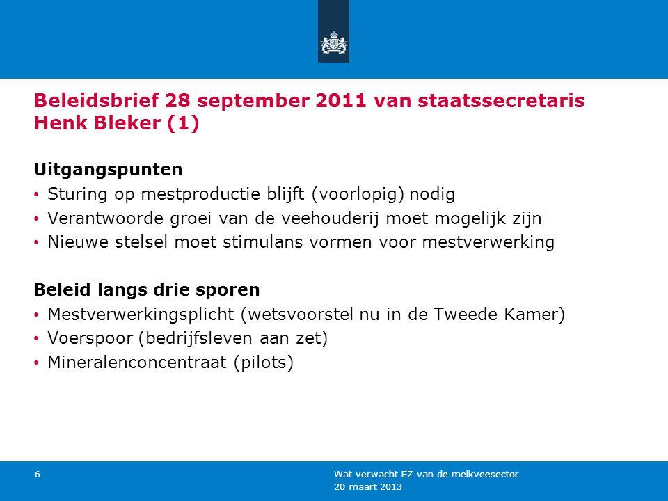 20 maart 2013 Wat verwacht EZ van de melkveesector 6 Beleidsbrief 28 september 2011 van staatssecretaris Henk Bleker (1) Uitgangspunten Sturing op mes
