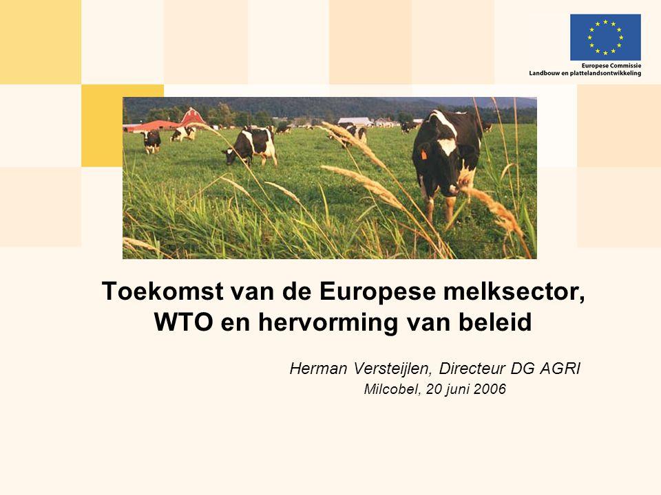 Herman Versteijlen, Directeur DG AGRI Milcobel, 20 juni 2006 Toekomst van de Europese melksector, WTO en hervorming van beleid