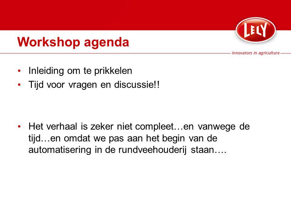 Workshop agenda Inleiding om te prikkelen Tijd voor vragen en discussie!.